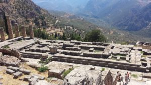 The ruins of the Temple of Apollo at Delphi, Greece